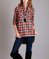 Lily Orange & Blue Plaid Pocket Button-Front Top - Plus Too