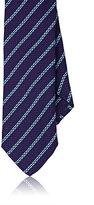 Barneys New York Men's Striped Jacquard Necktie-BLUE