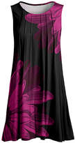 Lily Women's Tunics BLK - Black & Fuchsia Mum Pleated Sleeveless Tunic - Women & Plus