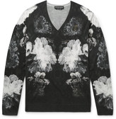 Alexander McQueen Slim-Fit Floral-Print Wool and Silk-Blend Sweater