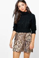 Boohoo Mischa Textured Woven Leopard A Line Mini Skirt