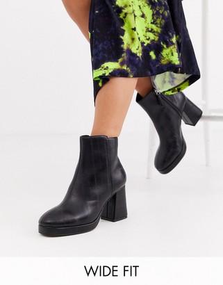 Topshop Wide Fit platform heeled boots in black