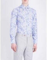 Canali Regular-fit Floral-pattern Linen Shirt