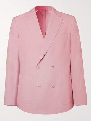 Officine Generale Leon Unstructured Double-Breasted Cotton-Poplin Suit Jacket