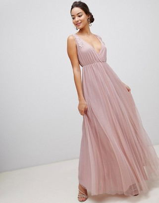 ASOS DESIGN Pleated Tulle Maxi Dress with Applique Lace Trim
