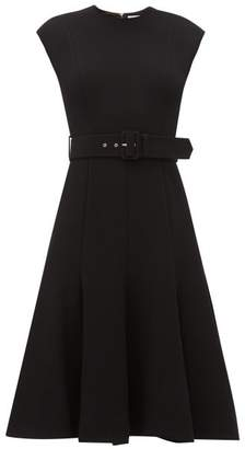 Emilia Wickstead Danni Belted Wool-crepe Dress - Womens - Black