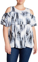 Bobeau Cold Shoulder Tie Dye Tee (Plus Size)