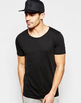 Selected T-Shirt with Raw Edge Neck