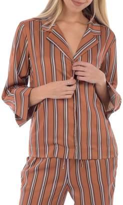 Paper Label Departures Striped Pyjama Top