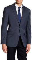 Vince Camuto Blue Woven Two Button Notch Lapel Modern Fit Wool Jacket