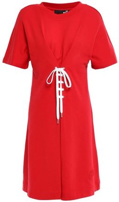 Love Moschino Lace-up French Cotton-terry Dress