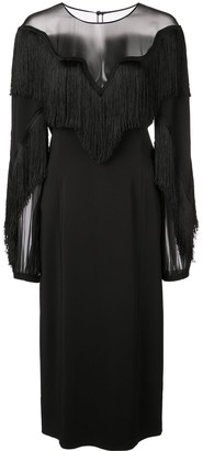 Alberta Ferretti fringed chest dress