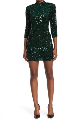 Donna Morgan Sequin Mock Neck Mini Dress