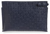 Loewe Large Logo Embossed Calfskin Leather Pouch - Black
