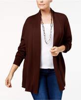Karen Scott Plus Size Ribbed Shawl-Collar Cardigan, Created for Macy's