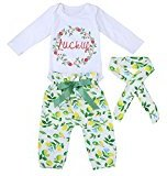 "Fheaven Toddler Baby Boys Girls ""LUCKLY"" Romper +Lemons Pants +Lemons Floral Headband (18M, White)"
