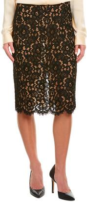 Michael Kors Silk-Trim Pencil Skirt