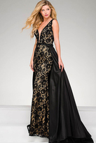 Jovani Sleeveless Beaded Lace Pageant Dress 49639