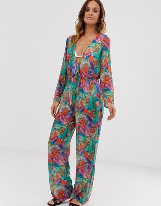 UNIQUE21 tropical print beach jumpsuit