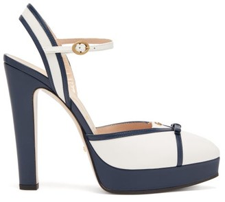 Gucci Alison Leather Platform Pumps - Womens - Blue White