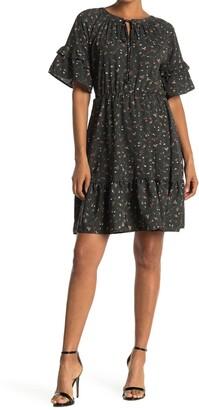 WEST KEI Ditsy Floral Print Ruffle Hem Mini Dress