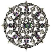 Esse Marcasite Sterling Silver Mystic Topaz Fancy Flower and Garlands Round Marcasite Brooch