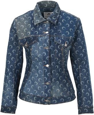 Marine Serre Moon-Print Buttoned Denim Jacket