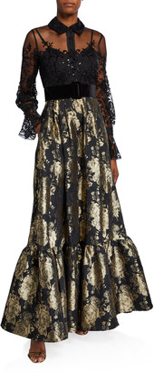 Badgley Mischka Long-Sleeve Lace Top & Brocade Skirt Combo Shirtdress