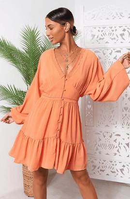 The Fashion Bible Paris Orange Chiffon Long Sleeve Shift Dress