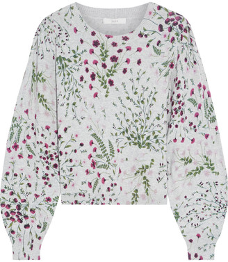 Joie Verna Floral-print Cotton And Cashmere-blend Sweater