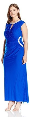 Marina Women's Plus Size Long Mesh Gown with Beaded Keyhold Neck