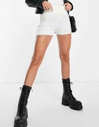 In The Style knitted shorts in white