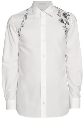 Alexander McQueen Harness Floral Embroidered Sport Shirt