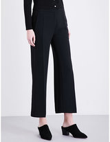 Sandro Cropped wide-leg crepe trousers