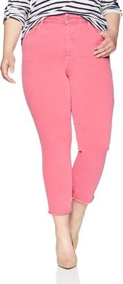NYDJ Women's Plus Size Sheri Slim Ankle with Fray Hem