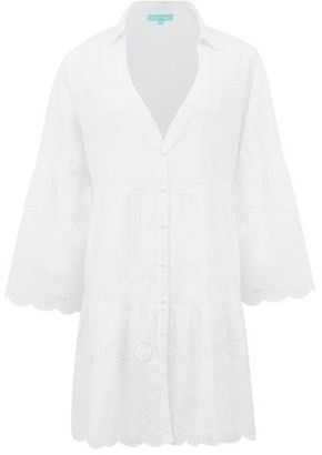 Melissa Odabash Becky Broderie-anglaise Cotton Shirt Dress - White
