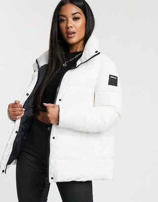 Replay puffer jacket a line with logo print on back-White