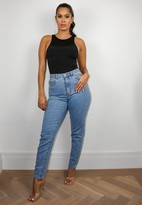 Missguided Petite Blue High Waisted Comfort Stretch Denim Mom Jeans