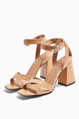 Topshop Womens **Wide Fit Sacha Beige Ankle Tie Block Heels - Beige