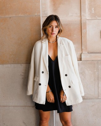 The Drop Women's Ivory Oversized Double Breasted Blazer by @milenalesecret L
