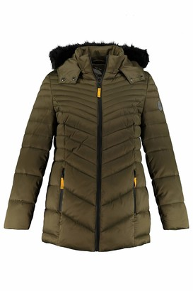 Ulla Popken Women's Steppjacke mit Abnehmbarer Kapuze und Webpelz Quilted Jacket with Removable Hood and Faux Fur