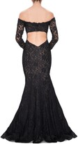 Thumbnail for your product : La Femme Off the Shoulder Long Sleeve Lace Gown