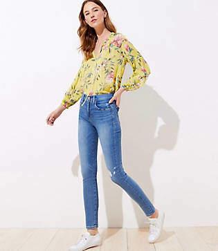 LOFT Destructed High Rise Slim Pocket Skinny Jeans in Indigo Wash