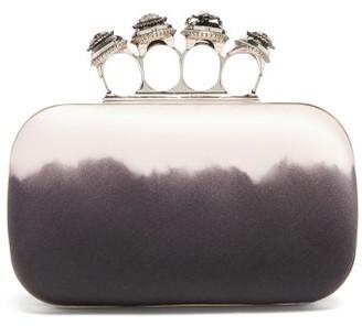 Alexander McQueen Four Ring Tie-dye Satin Box Clutch - Black Pink