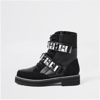 River Island Womens Black embellished hiker boots