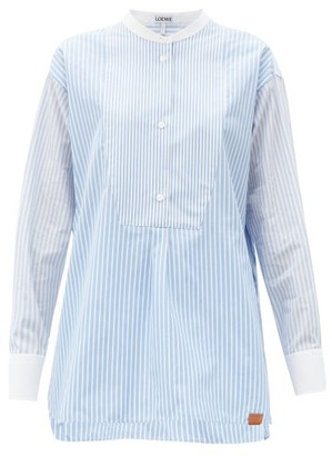Loewe Striped Stand-collar Cotton-poplin Tunic - White Multi