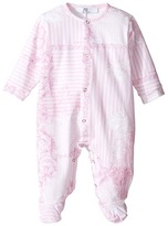 Versace Kids - Long Sleeve Barocco Righe Print Footie w/ Front Snaps Girl's Overalls One Piece