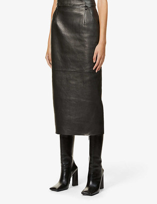 Magda Butrym High-rise leather midi skirt