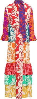 Borgo de Nor Ruffled Printed Silk-crepe Maxi Dress