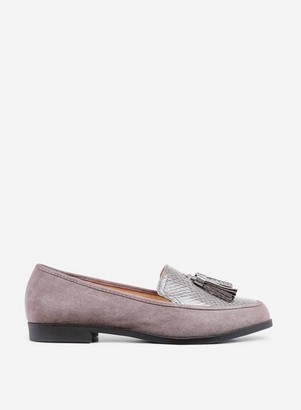 Dorothy Perkins Womens Wide Fit Grey 'Lille' Loafers, Grey